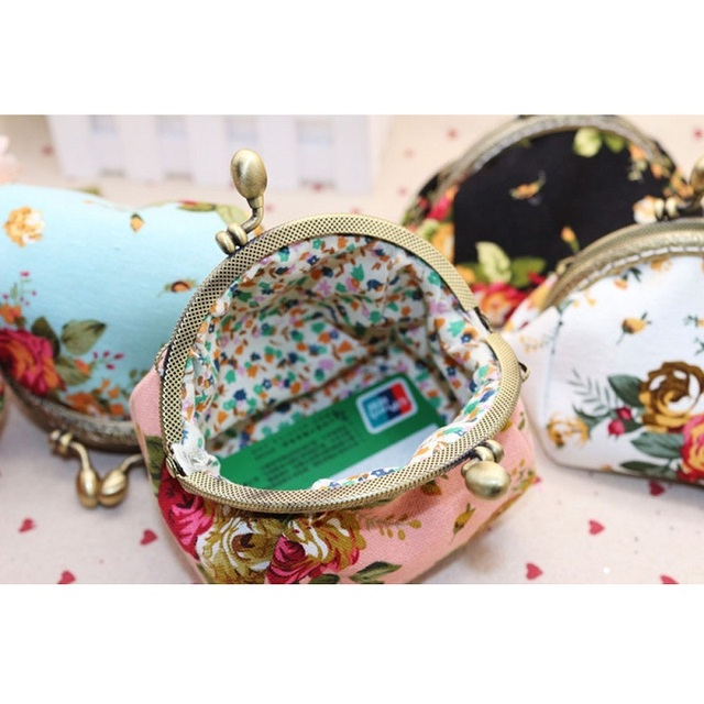 Naivety Coin Purse Women Lady Retro Vintage Flower Small Wallet Hasp Printing Floral Clutch Bag Good Gift JUL28 drop shipping 1