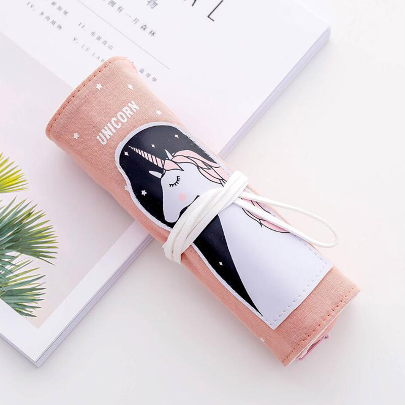 Kawaii Pink UnicornStudent School Office Supplies Pencil Bags Girl Animal Anime Pens Curtain Case Cartoon Canvas Kid Stationery in Pencil Bags from Office School Supplies