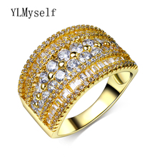 Unique Fashion Design charming ring clear AAA cubic zirconia crystal Luxury Gold/White Gold color Wide Women Rings Jewelry