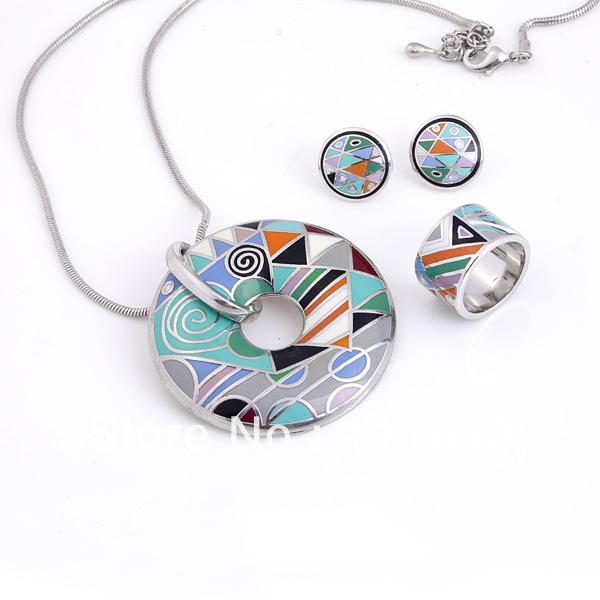 Frete grátis! Multicolor padrões geométricos esmalte jogo da jóia ( colar, Brinco, Anel ), 1 set/pacote