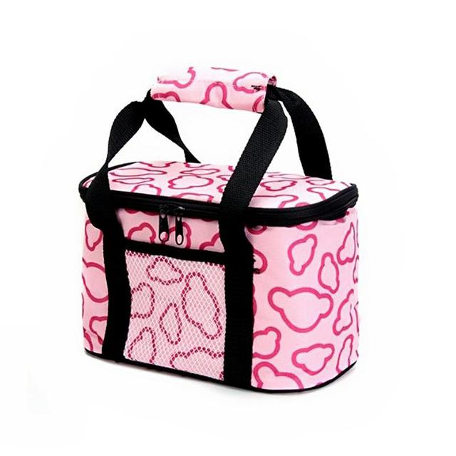 Portable Waterproof Lining Lunchbox Bag Lunch Tote Insulated Cooler Bag Carry Bag for Travel /Picnic (Pink)