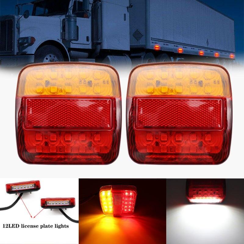 12V 26LED Trailer Truck Caravan Rear Tail Light Turn Signal Indicator Brake Stop Lamp Taillight Number Plate Light Reverse Van