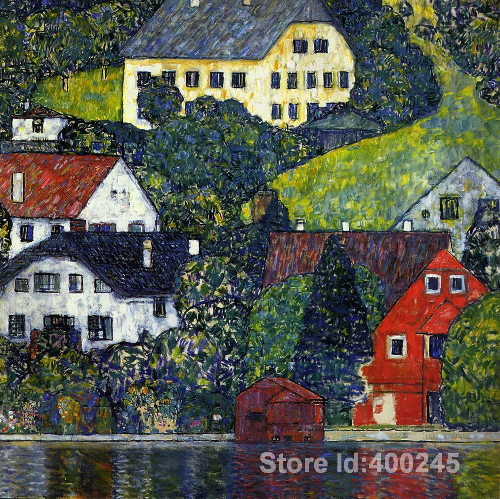 Best Art Reproduction Houses at Unterach on the Attersee Gustav Klimt Paintings for sale hand painted High quality