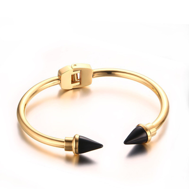 2016 Punk Women Stackable Cuff Bracelet  Gold Plated Double Black Nail Rivet Cone Narrow Bracelets&Bangles Women Jewelry