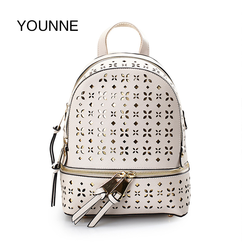 YOUNNE Women Backpack Female Casual Zipper Solid Color Parent-child bag Mother BabyFashion Hollow Out Backpacks Shoulder Bag Bao vintage hollow out solid color blouse