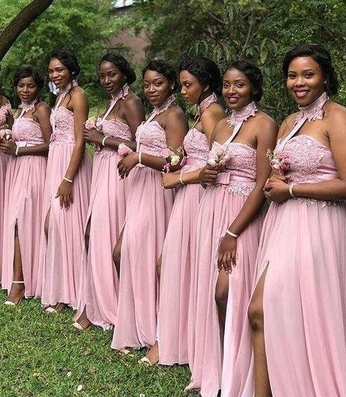 Robes de demoiselle d'honneur grande taille longue Tulle rose robe de soirée de mariage femme