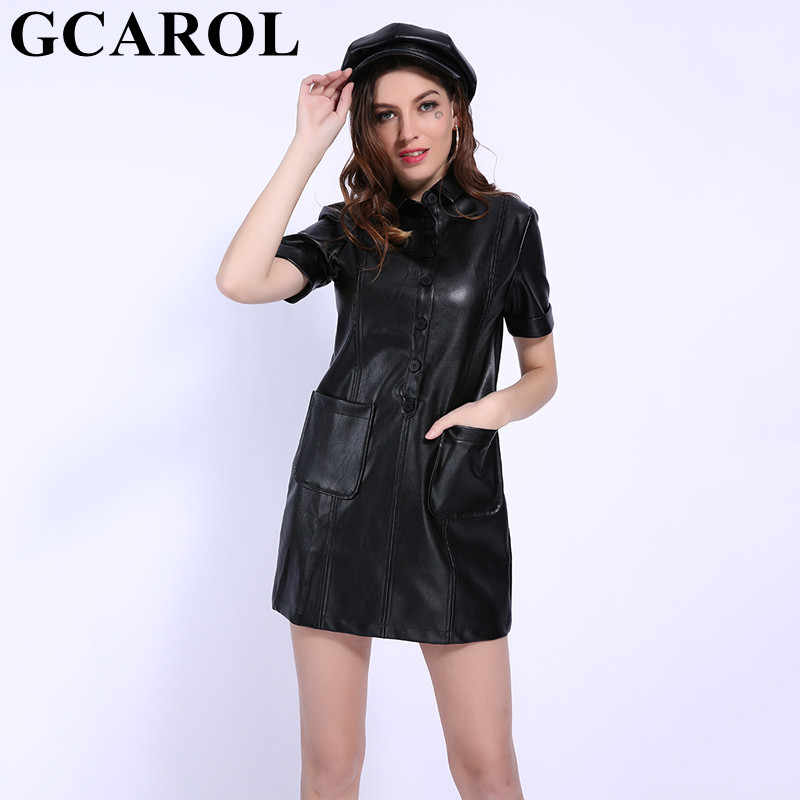GCAROL 2019 Early Spring Faux Leather Above Kneel Length Dress Turn-Down Collar 2 Pockets Short Sleeve Black PU Dress