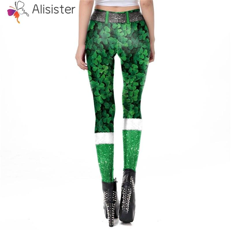 b92a4c2e3 Green Shamrock St. Patrick's Day 3D Leggings Women Fitness Slim Pants Full  Length Elastic Sexy Shamrock Leggings Lady