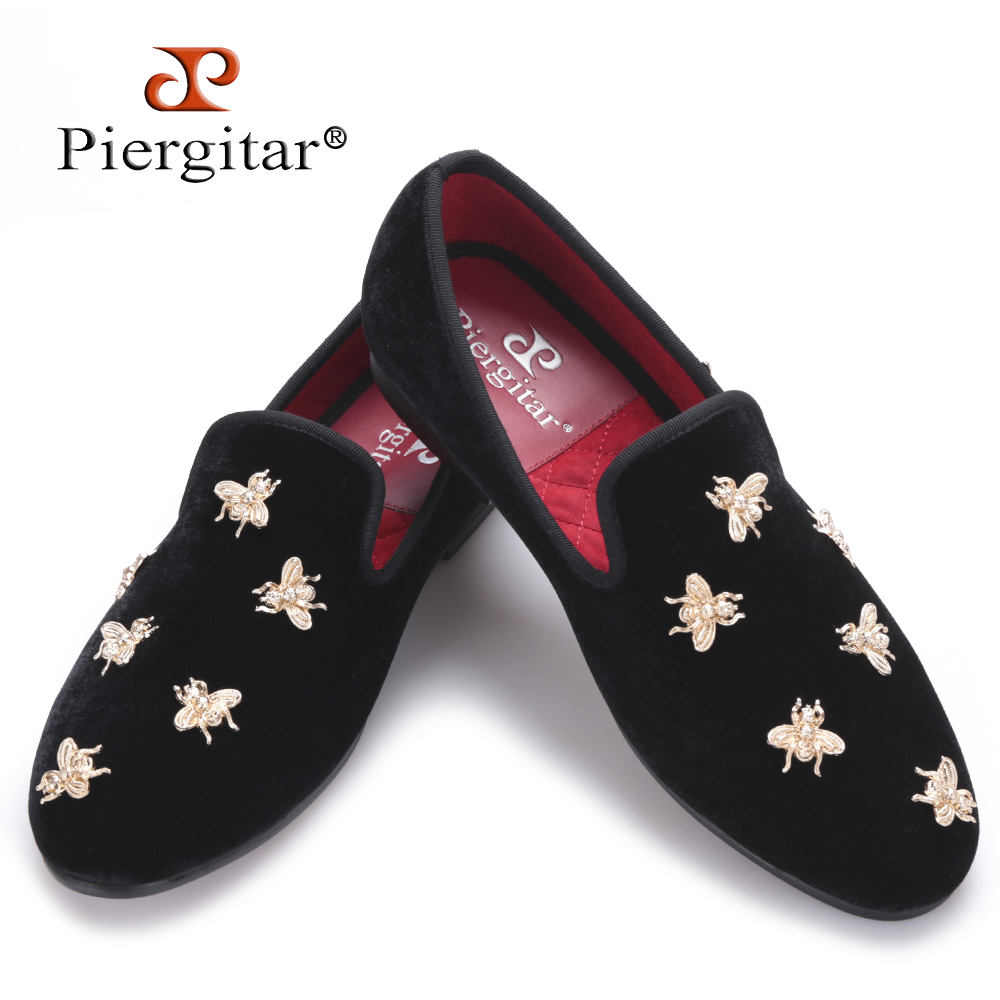 Piergitar new Bee metal men velvet shoes party and wedding men loafers Luxury brands DG men's dress shoes fashion men's flats piergitar 2017 two color leopard pattern men velvet shoes fashion party and wedding men dress shoe male plus size flats loafers