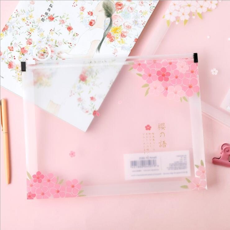 1 Piece Big Capacity Cheery Blossoms A4 A5 File Folder Desk Document Paper Organizer Storage Bag Office School Study Stationery