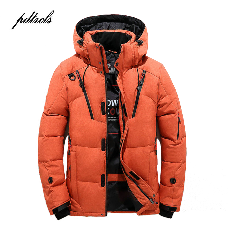 New High Quality Winter Warm Thicken Zipper Coats Men's Hooded Parkas Casual Male Slim Zipper Multi-Pockets Overcoat Jackets(China)