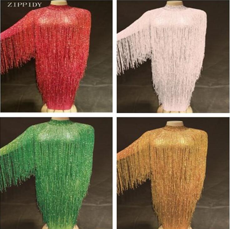 8 цветов бахромой длинное платье Вечеринка день рождения, празднование платье с кисточками для пения, танцев костюм длинное платье из пряжи