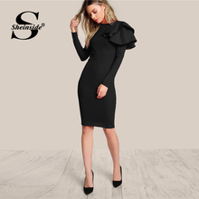 Sheinside Black Ruffle Bodycon Elegant Party Dress Women Knee Length Slim Fit Office Ladies Pencil Autumn Midi Dress