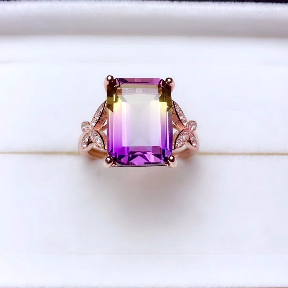Uloveido Exquisite Gemstone Natural Amethyst Lady Ring 925 Sterling Silver Wedding Engagement Birthstone Jewellery 20 Off