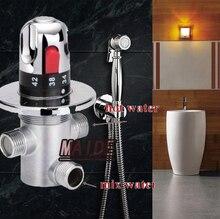 Latão wc portátil bidé Spray de Shattaf Jet Douche kit + bronze chuveiro + válvula termostática de mistura
