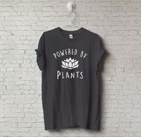 New Unisex Vegetarian Vegan POWERED BY PLANTS Tumblr T Shirt Hipster Joke Tee Swag Unisex T