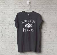 New Unisex Vegetarian Vegan POWERED BY PLANTS Tumblr T Shirt Hipster Joke Tee Swag Unisex T