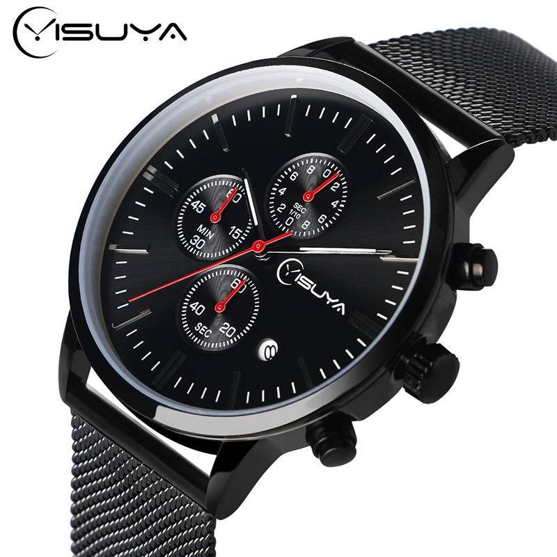 цена на YISUYA Luxury Mens Black Stainless Steel Mesh Strap Date Chronograph Quartz Wrist Watch Sport Business Watches with Hook Buckle