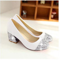 Fashion Pumps Basic Round Toe Glitter Casual Slip-On Soft Leather Thick High Heels Bestselling Women Shoes Handmade