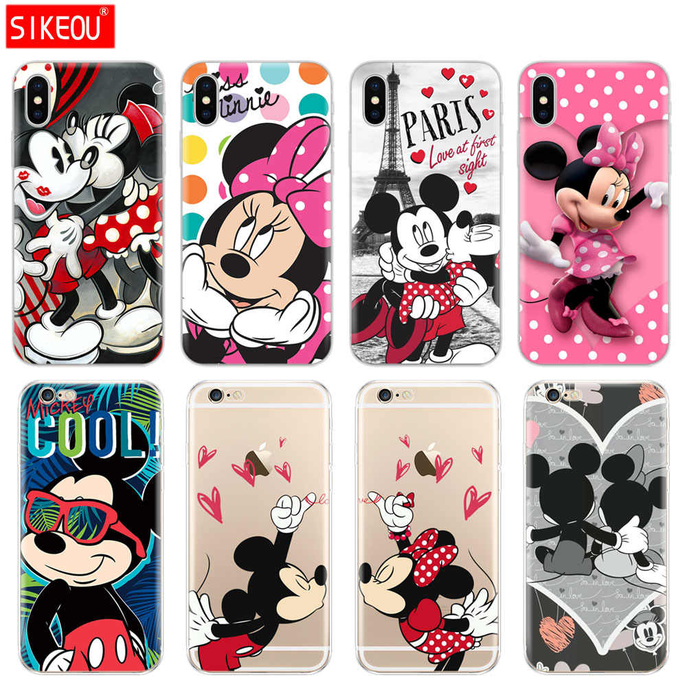Silicone Cover Phone Case For Iphone 6 X 8 7 6s 5 5s SE Plus 10 Case cartoon mouse Mickey Minnie