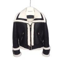 2018 Женское пальто с натуральным овечьим мехом зимняя куртка женская теплая натуральная мериносовая шерсть Овчина кожаная куртка Большие п