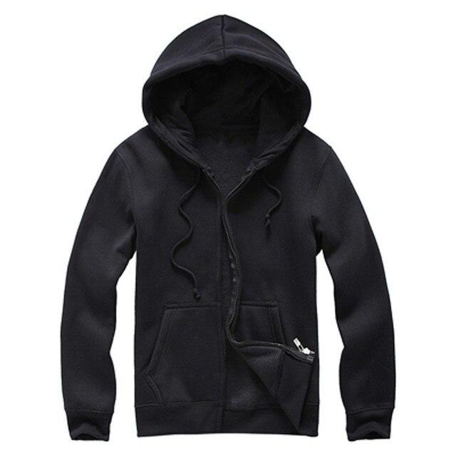 Men 's Black Hooded Fleece Cotton Cardigan Long Sleeve Sudaderas ...