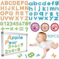 90PCS Magnetic Alphabet symbols Smart Toy Child Magnetic Animals Fruits Vegetables Transportation Sticker Education Children