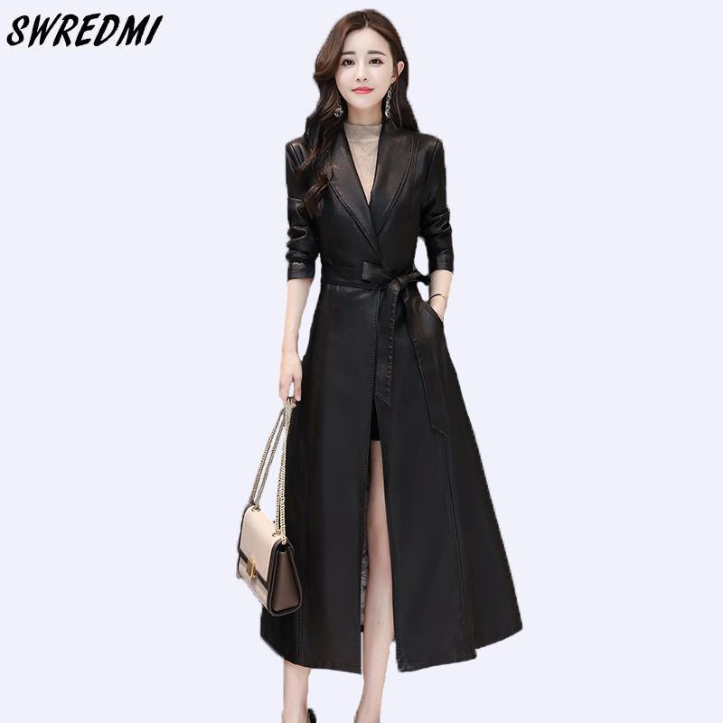 SWREDMI Women Long   Leather   Trench Outwear Plus Size Sashes Slim Office Lady   Leather   Clothing Female Fashion   Leather   Coat Winter