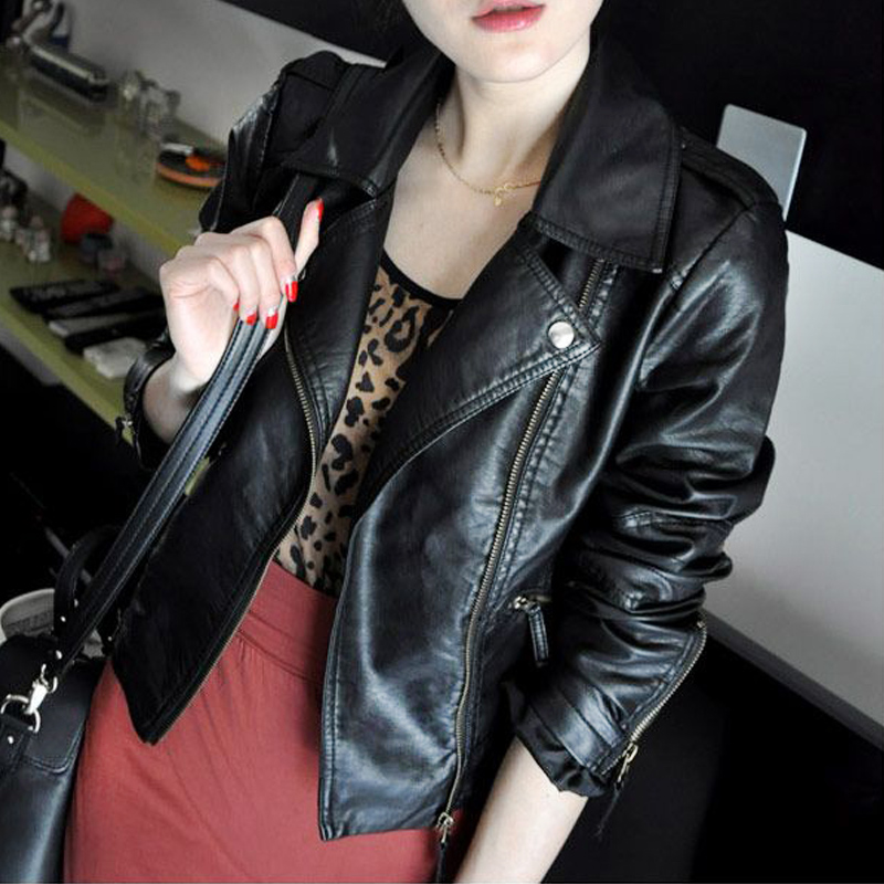 New Style Faux   Leather   Slim Jacket Women Short Design Water Wash PU Jackets Free Shipping