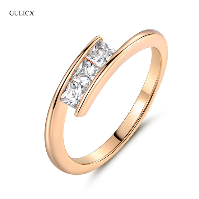 GULICX Brand Fashion White Crystal Gold-color Ring Trendy Princess CZ Cubic Zirconia Wedding Ring For Women Jewelry R079