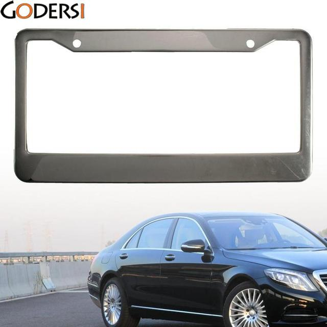 Godersi Black 2pcs Carbon Fiber Pattern ABS Car License Plate Frames ...