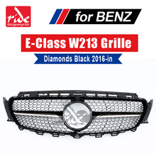 W213 Sports Diamonds Grille grill ABS Black With Camera For Mercedes Benz E class E200 E250 E300 E350 E63 look grills 2016-2018