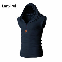 2018 New Brand Stretchy Sleeveless Shirt Casual Fashion Hooded Tank Top Men bodybuilding  Slim Fit Clothing Tanks stretchy fitted suture tank top