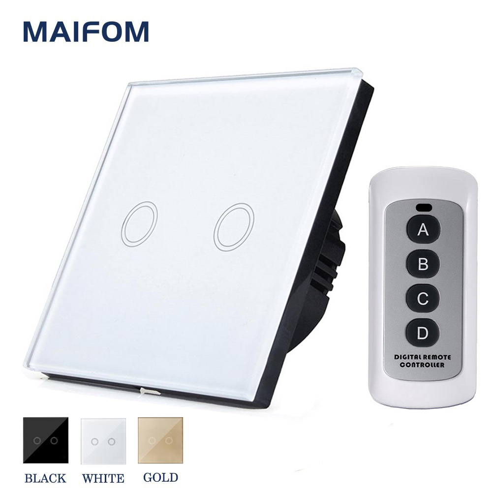 Smart Switch MAIFOM RS-2 Wireless RF433 Remote Control Switch 2 Gang 1 way Capacitive Touch Control Crystal Glass Touch Panel black color 2gang touch light switch with wireless remote control rf 433mhz glass panel smart wall touch switch uk type
