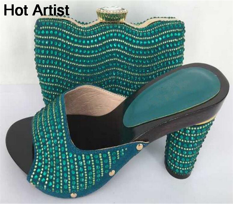 Hot Artist New Summer Style Fashion Shoes And Matching Bag Set African Design Woman Wedges Shoes And Bag For Party Free Shipping  africa style pumps shoes and matching bags set fashion summer style ladies high heels slipper and bag set for party ths17 1402