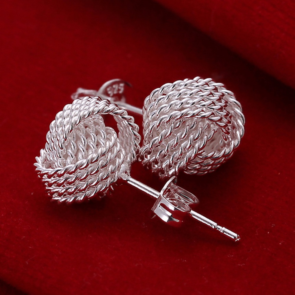 Bridal Earrings Silver Plated Tennis Stud Earring For Women Gift
