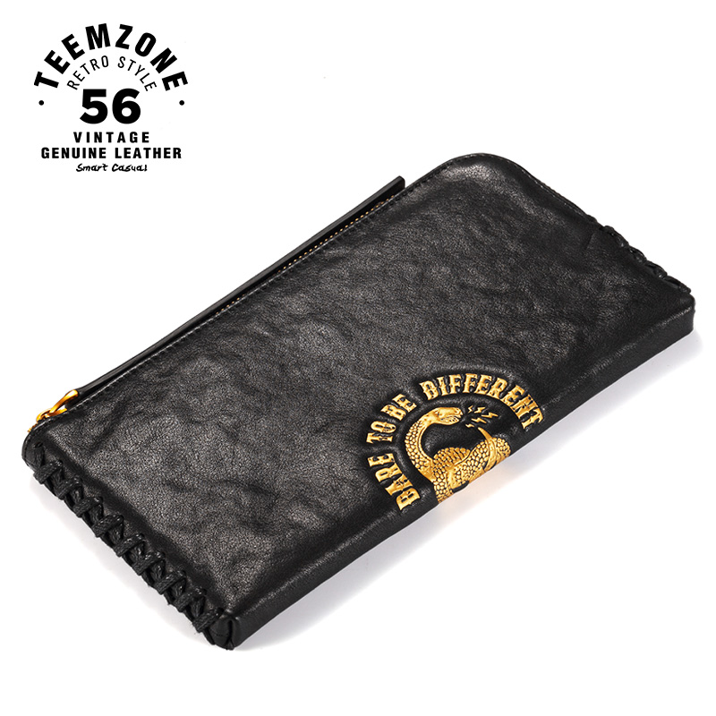 Mens Long Wallet Leather Genuine European And American Style Zipper Men Purse Card Holder Luxury Brand Design High Quality J50 teemzone top european and american fashion evening bag ladies genuine leather long style hasp note compartment wallet j25