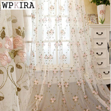 Luxury Rustic Curtains Fabric Embroidered Flower Living Room Bedroom Tulle Curtain Beautiful Pink Flower Curtains 366
