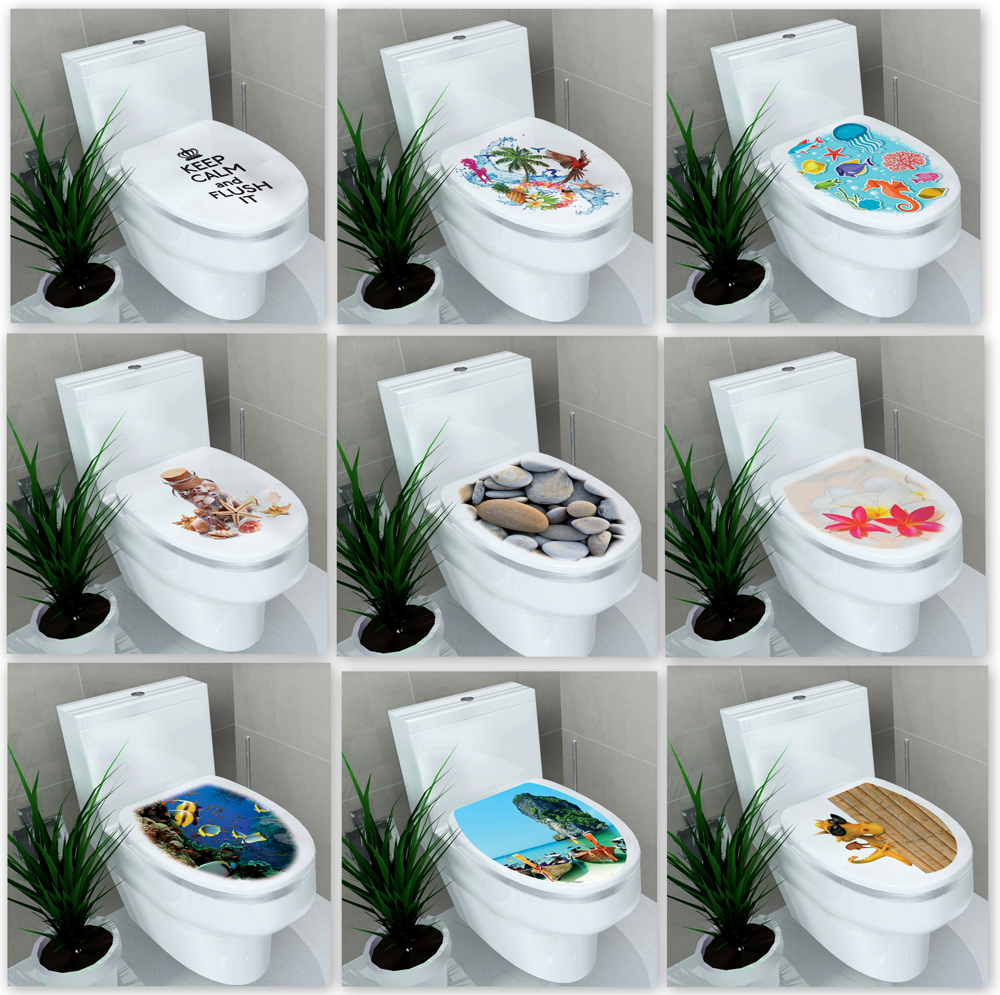 Mixed 21 Designs Wc Pedestal Pan Cover Sticker Toilet Stool Commode  Stickers Bathroom Home Decor Decals 32* 38cm