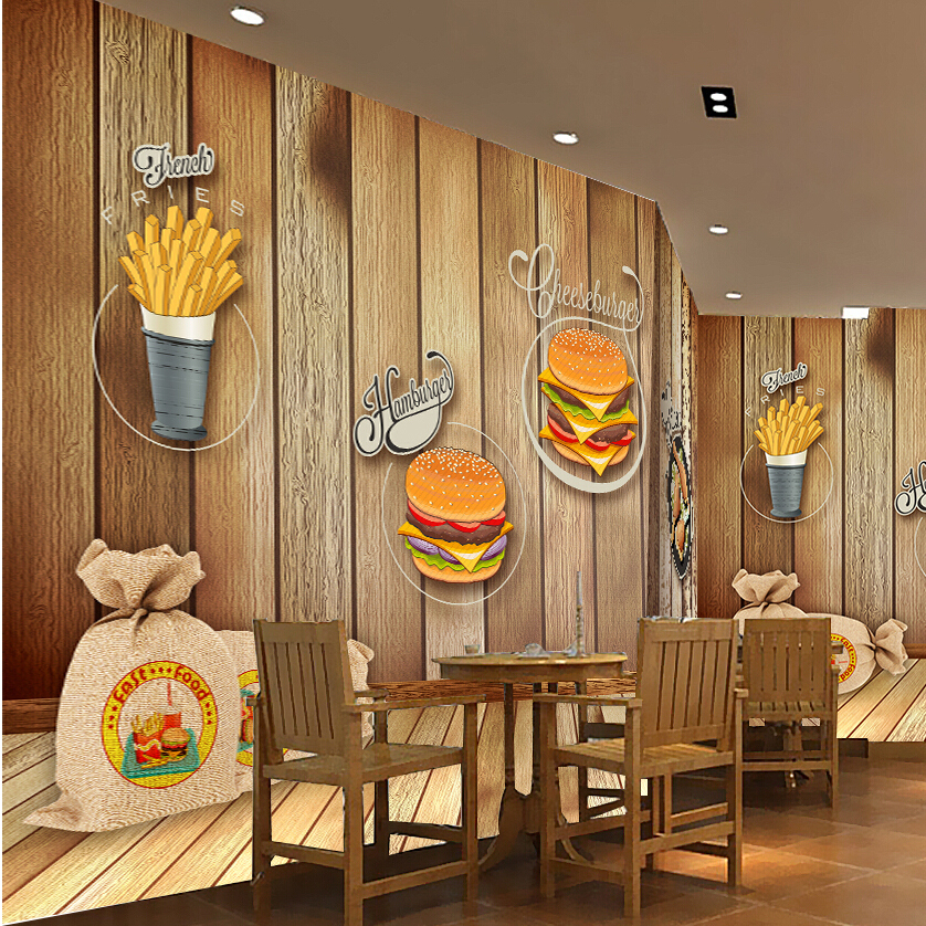 Custom photo silk d wallpaper for walls fast food