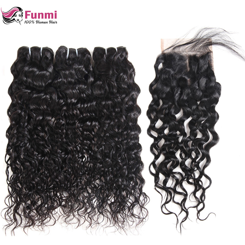 Peruvian Virgin Hair With Closure Unprocessed Peruvian Water Wave With Closure Funmi Human Hair Bundles With Closure 4PCS LOT