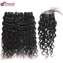 Peruvian Virgin Hair with Closure Unprocessed Peruvian Water Wave with Closure Funmi Human Hair Bundles with Closure 4PCS LOT(China)