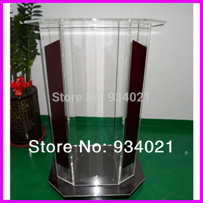 Clear Plexiglass Podium, Acrylic Wood Lectern, Church Podium