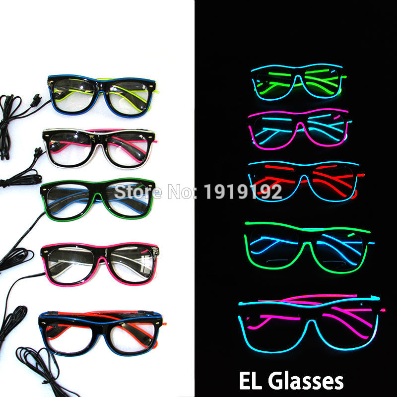 c70e7acc73c Artificial Flashing Double color Glowing Glasses 5 style Powered By DC 3V  EL Wire Cold Light Tube Crazy Discos Party Decoration-in Glow Party  Supplies from ...
