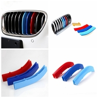 Car Front Grille Sport Trim Strips 3D M Styling Cover Cap Motorsport Tricolor Stickers For BMW