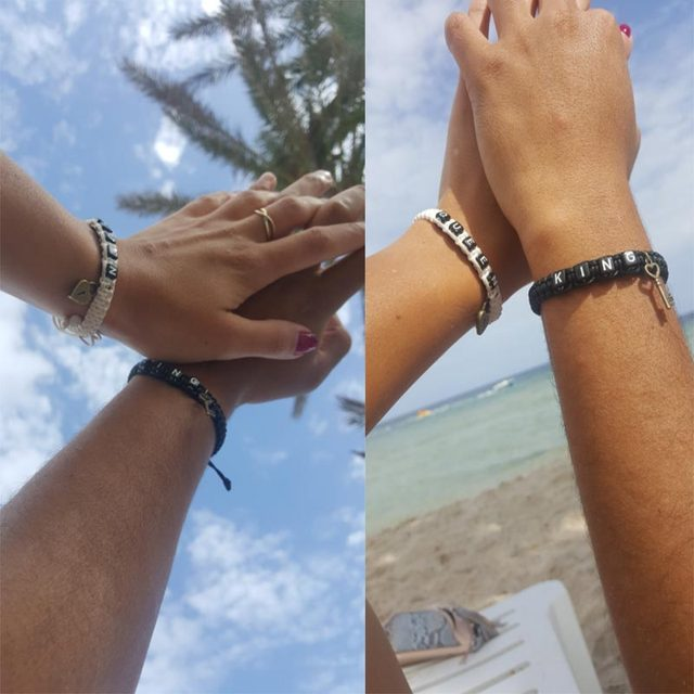 2pcs/pair Couple Bracelets Black King And White Queen With Key Lock Rope Chains Lovers Gift Handmade Charm Bracelets Accessories 3