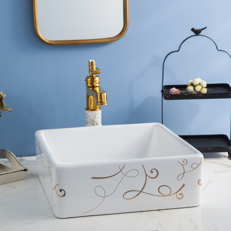 Square and rounded square porcelain decoration ceramic bathroom washbasin toilet sink