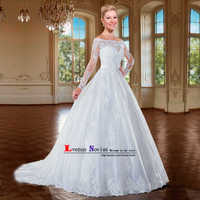 vestidos de noiva Sexy Back Bridal Dresses Robe de Mariee Romantic White Appliques Ball Gown Wedding Dress Long Sleeve Trouwjurk