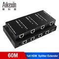 Aikexin 4 порта HDMI удлинитель 60 м  1X4 HDMI сплиттер удлинитель по CAT5e/CAT6/CAT7 Ethernet кабель до to196ft (1 TX + 4 RX)