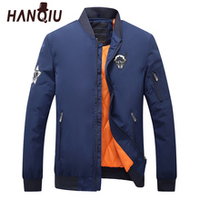HANQIU Parkas Men Winter Spring Brand Solid Warm Bomber Jacket Stand Collar Slim Fit  Embroidery Casual Zipper Pocket Coats